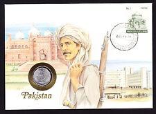 Numisbrief 1988 Pakistan asiatico TIMBRO COPERCHIO CON MONETA Pakistano