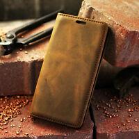Handy Echltleder Tasche Etui Magnet Case Cover Leder Hülle Vintage Braun Premium