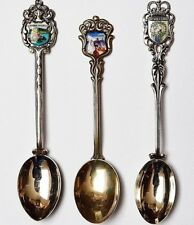 3 alte Andenkenlöffel Löffel 800 und 900 Silber gemalte Emaille Wappen 30 g