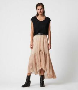 AllSaints BNWT Aubrey Dot Maxi/Midi Skirt Nude Pink Size UK 12 BNWT £149