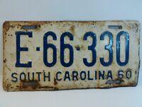 1960 South Carolina license plate Vintage Rustic Unrestored E-66-330