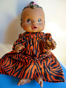 "2007 Hasbro 13"" Baby Alive Black African American Doll Drinks & Wets w/ooak dres"