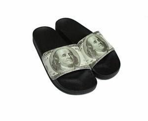 Dollar Bill Pattern Benjamin Men's Slide Sandals