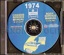 1974 Plymouth Shop Manual CD Roadrunner Satellite Barracuda Fury Duster Valiant
