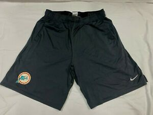 MIAMI DOLPHINS GAME USED THROWBACK LOGO GRAY NIKE PRACTICE SHORTS W/ POCKETS