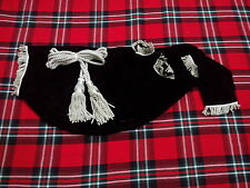 NEW SCOTTISH GREAT HIGHLAND BAGPIPE BAG COVER BLACK VELVET + SILVER BAGPIPE CORD