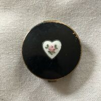 Vintage Pill Box Round Black Enamel Heart with Rose Flower