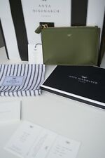 NEW AUTHENTIC ANYA HINDMARCH BESPOKE GREEN LEATHER LOOSE POCKET CLUTCH / BAG BOX