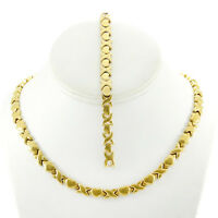 Hugs and Kisses Necklace Stampato Set Stainless Steel Gold Plated 18'' Bracelet