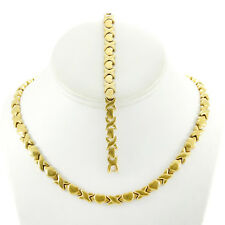 Hugs and Kisses Necklace Bracelet Stampato Set Stainless Steel Gold Plated 18''