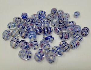 50 pcs VTG Transparent Blue Swirled Glass Lampwork Craft Jewelry Beads 12mm Oval