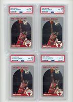 (4) Card Lot 1990 Hoops Michael Jordan PSA 8 #65 Bulls HOF MJ Graded