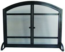 39 in. Fireplace Screen 1-Panel Heavy-Duty Steel with Pair Doors,  Antique Black