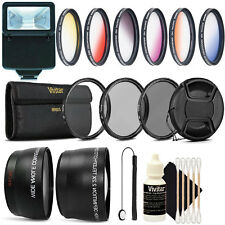 58MM Lens Filter Accessory Kit + Slave Flash for CANON Rebel 6i T6 T6s T5i T4i