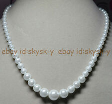 """6-14MM White South Sea Shell Pearl Round Beads Necklaces 18"""" Earring Wedding AAA"""
