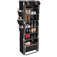 Armoire étagères à chaussures placard 6 niveaux + panier suspendu housse noir