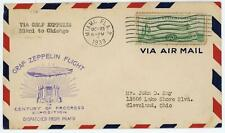 More details for usa 1933 graf zeppelin flight cover from miami to chicago 50c zeppelin stamp