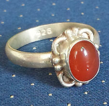 Traditional Sterling Silver Handcrafted Asian Carnelian Ring Size P 1/2 Gift