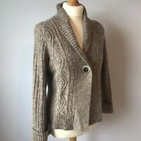M&S Brown Arran Style Knit Cardigan 12 Single Button Collar Autumn Angora Blend