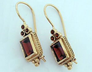 Gorgeous Genuine 9ct Solid Yellow Gold Natural Garnet Drop Earrings with closure