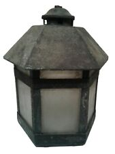 New listing Vintage Metal Lantern Glass Case Indoor/Outdoor Decor Candle Lamp Craft