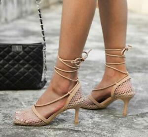 Women Mesh Pumps Square Toe High Heels Lace Up Cross Strap Stiletto Sandals Sexy