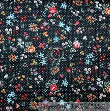 BonEful Fabric FQ Cotton Quilt Black White B&W Dot Rose Flower Calico Pink Blue