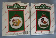 2 Christmas Cross Stitch Kits Canadian Goose (With Frame) & Joy Horn (No Frame)