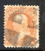 Sc#100 30c VG grill 1868 issue strong grill tiny tear at left perf close to left