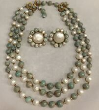 Vintage necklace & earring DEMARIO faux pearls & torquise
