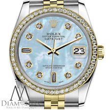 Women's Rolex 26mm Datejust 2 Tone Baby Blue Mother Of Pearl 8+2 Diamond