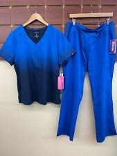 New listing New Royal Blue Print Scrubs Set With Koi Xl Top & Healing Hands Xl Pants Nwt