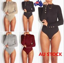 Women Long Sleeve High Neck Bodysuit Jumpsuit Romper Ladies Stretch Leotard Tops