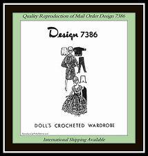 "DOLL 11½""  Crochet Pattern WARDROBE Vintage Design 7386 Gown Slacks more CRAFT"