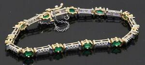 14K 2-tone gold elegant 3.41CTW diamond & Oval cut emerald line link bracelet