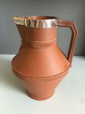 More details for watcombe pottery / christopher dresser terracotta & silver jug, j brashier, 1872