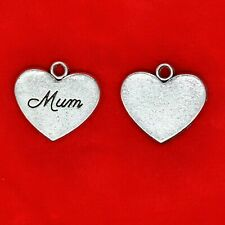 4 x Tibetan Silver Mum Mom Mother Love Heart Charms Pendants