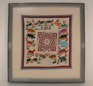 Embroidered Fabric Sampler from Turkey Animals Bird Floral Geometric Wood Framed