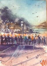 Cablecar Ticket Line Collectible Card Original Watercolor Painting ,ACEO