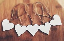 wooden hanging xmas Decoration Rustic Nordic White 5x heart +string wedding