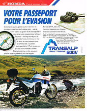 PUBLICITE ADVERTISING 065  1987  HONDA  moto TRANSALP  RALLY TOURING 600V