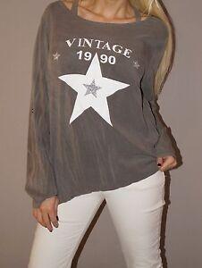 NEU Tunika Glitzer Sterne Vintage Shirt Blogger S 36-38 M Grau Must Have Top