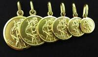 9CT GOLD SAINT CHRISTOPHER ST CHRIS PENDANT CHARM MEDAL CHAIN FREE ENGRAVE BOXED