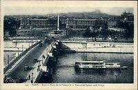 PARIS France CPA ~1910 Schiff passiert die Brücke Autos Place Pont Concorde