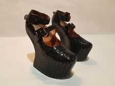 JEFFREY CAMPBELL NIGHT WALK LITA PLATFORM SHADOW LEATHER SIZE 3
