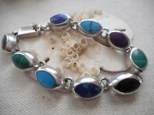 Vintage Mexico Sterling Silver Taxco Multi Stone Link Bracelet   RE4177