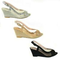 LADIES WOMENS WEDGE HEEL DIAMANTE TOE POST SPARKLY DRESSY PARTY SANDALS SIZE 3-8