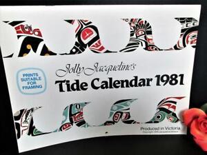 JIM GILBERT 1981 CALENDAR PRINTS SUITABLE FRAMING TIDE CHART PACIFIC NORTHWEST