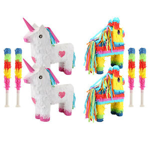 Pinata with Stick Game Toy Party For Birthday Kids grown-ups Unicorn, Horse