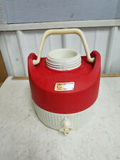 Coleman vintage water cooler jug Funks Hybrid advertising red & white plastic